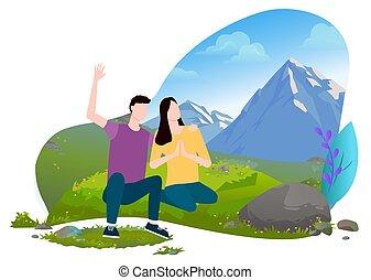 hegyek, hegy, ülés, ember, vektor, nő