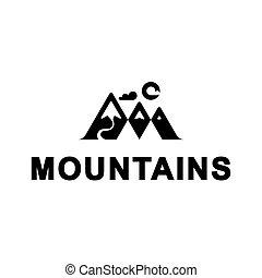 hegyek, illustration., nap, vektor, sablon, cloud., jel, folyó