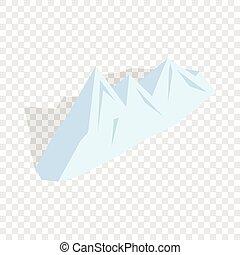 hegyek, isometric, havas, ikon