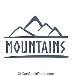 hegyek, jel, ábra, vektor