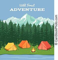 hegyek, külső, camping., természet, tábor, ábra, erdő, vektor, háttér, folyó, sátor