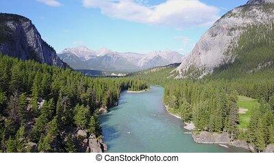hegyek, kanada, liget, folyó, bizonytalanok, nemzeti, íj, banff