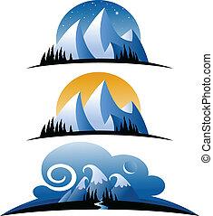 hegyek, karikatúra