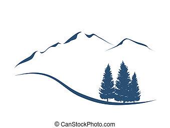 hegyek, kiállítás, ábra, stilizált, erdei fenyők, táj, alpesi növény
