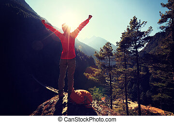 hegyek, nő, fiatal, fegyver, kiránduló, éljenzés, himalaya, nyílik, napkelte