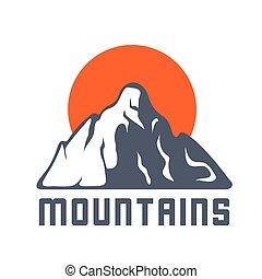 hegyek, nap, vektor, jel, ikon, ábra