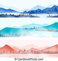 hegyek, parkosít., erdő, külső, panorama., ködös, hegy panorama, természet, havas, árnykép, csúcs, vektor, erdő