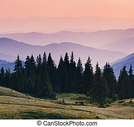 hegyek, reggel