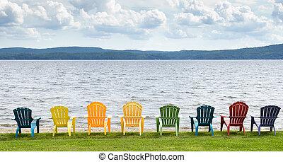 hegyek, színes, elnökké választ, feláll, clouds., látszó, tó, adirondack, nyolc, vonalazott, tengerpart, ki