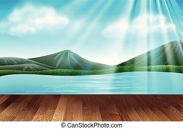 hegyek, színhely, háttér, tó