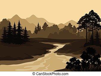 hegyek, táj, bitófák, folyó