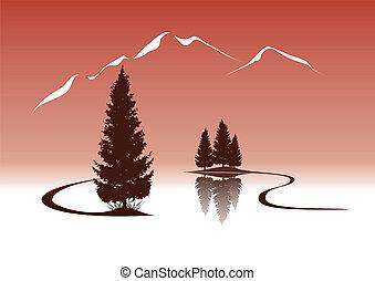 hegyek, táj, erdei fenyők, tó, ábra