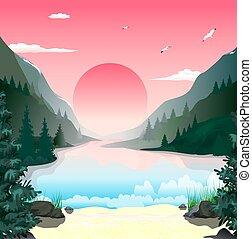 hegyek, táj, hajnalodik, tó
