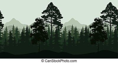 hegyek, táj, seamless, bitófák