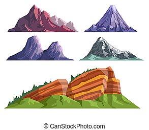 hegyek, táj, vulkán, állhatatos, konstruktőr, különféle, alvás