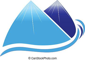 hegyek, társaság, hó, vektor, tervezés, lenget, ikon