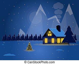 hegyek, tél, havas, épület, éjszaka, ábra, fa., alatt, karácsony, táj