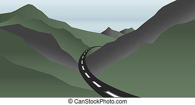 hegyek, völgy, út, jel
