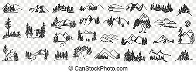 hegyek, völgy, parkosít, állhatatos, szórakozottan firkálgat