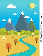hegyek, völgy, természetes, folyó parkosít
