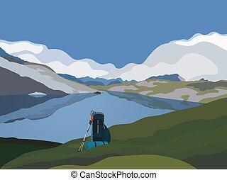 hegyek, völgy, zöld