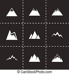 hegyek, vektor, állhatatos, ikon