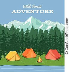 hegyek, vektor, folyó, tábor, camping., külső, természet, háttér, erdő, sátor, ábra