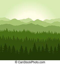 hegyek, vektor, háttér., toboztermő fa, köd, erdő, zöld