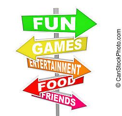 hegyezés, szórakozás, elfoglaltság, móka, cégtábla, irányítások