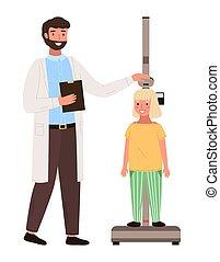 height., gyermekorvos, kevés, orvos, lépés, találkozó, gyermek, dél, türelmes