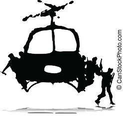 helikopter, katona, illustratio