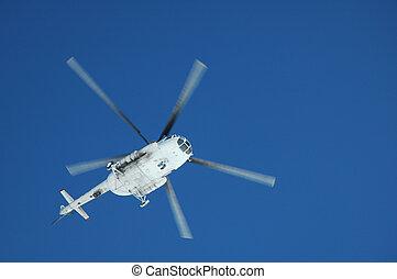 helikopter, tiszta égbolt, keresztül, levegő