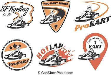 helmet., emblémák, vektor, karting, versenyzés, jel, versenyfutó, állhatatos, ábra, kart, elements., icons.