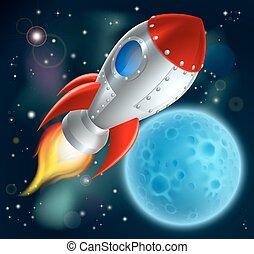 hely, karikatúra, hajó, rakéta