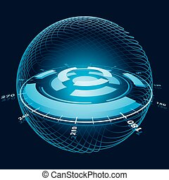 hely, sphere., ábra, képzelet, vektor, navigáció