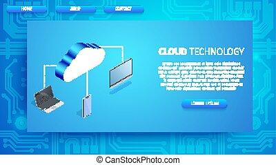 hely, technológia, másol, felhő, horizontális, transzparens