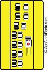 helyes, ad, autók, aláír, forgalom, irány, tanácsol, ambulance.