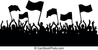 helyeslés, tolong, emberek., árnykép, sport, jókedvű, rajongó, zászlók