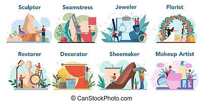 helyreállító, foglalkozás, szobrász, művészi, virágárus, csinál, set., feláll