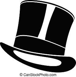 henger, illustration., tető, úriember, fekete, hat., kalap