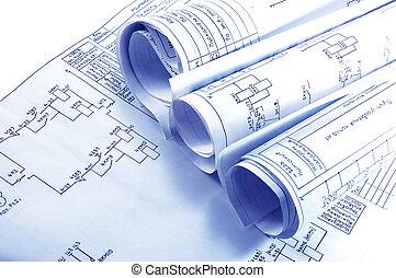 hengermű, villanyáram, mérnök-tudomány, tervrajz
