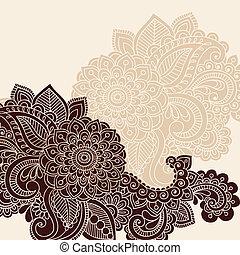 hennabokor, vektor, árnykép, tervezés