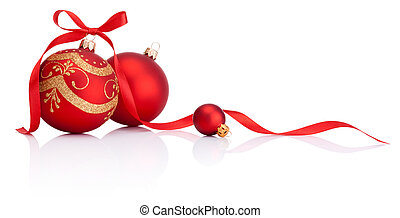 herék, elszigetelt, íj, dekoráció, szalag, háttér, white christmas, piros