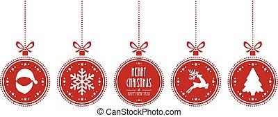 herék, elszigetelt, háttér, függő, karácsony, piros