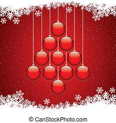 herék, fa, karácsony, háttér, hópehely, piros
