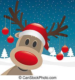 herék, felakaszt, rénszarvas, orr, karácsony, piros