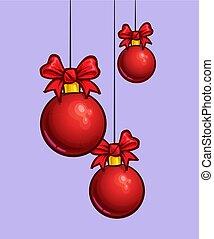 herék, -, három, karikatúra, függő, karácsony, piros, ikon