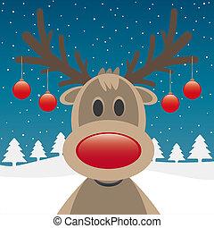 herék, karácsony, orr, piros, rénszarvas