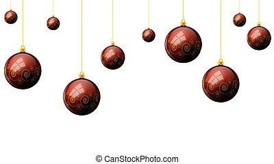 herék, motívum, háttér, függő, white christmas, piros