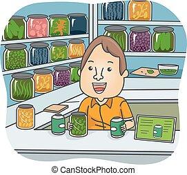 herbal gyógyszer, bolt, ábra, ember